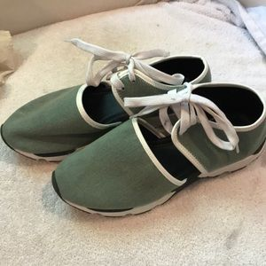 Women's shoes cute greenish with white laces